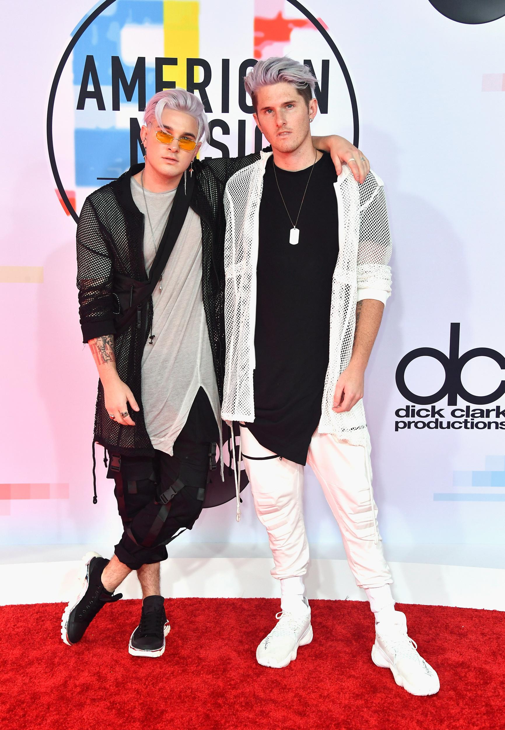 LOS ANGELES, CA - OCTOBER 09:  Michael Trewartha (L) and Kyle Trewartha of Grey attend the 2018 American Music Awards at Microsoft Theater on October 9, 2018 in Los Angeles, California.  (Photo by Frazer Harrison/Getty Images)