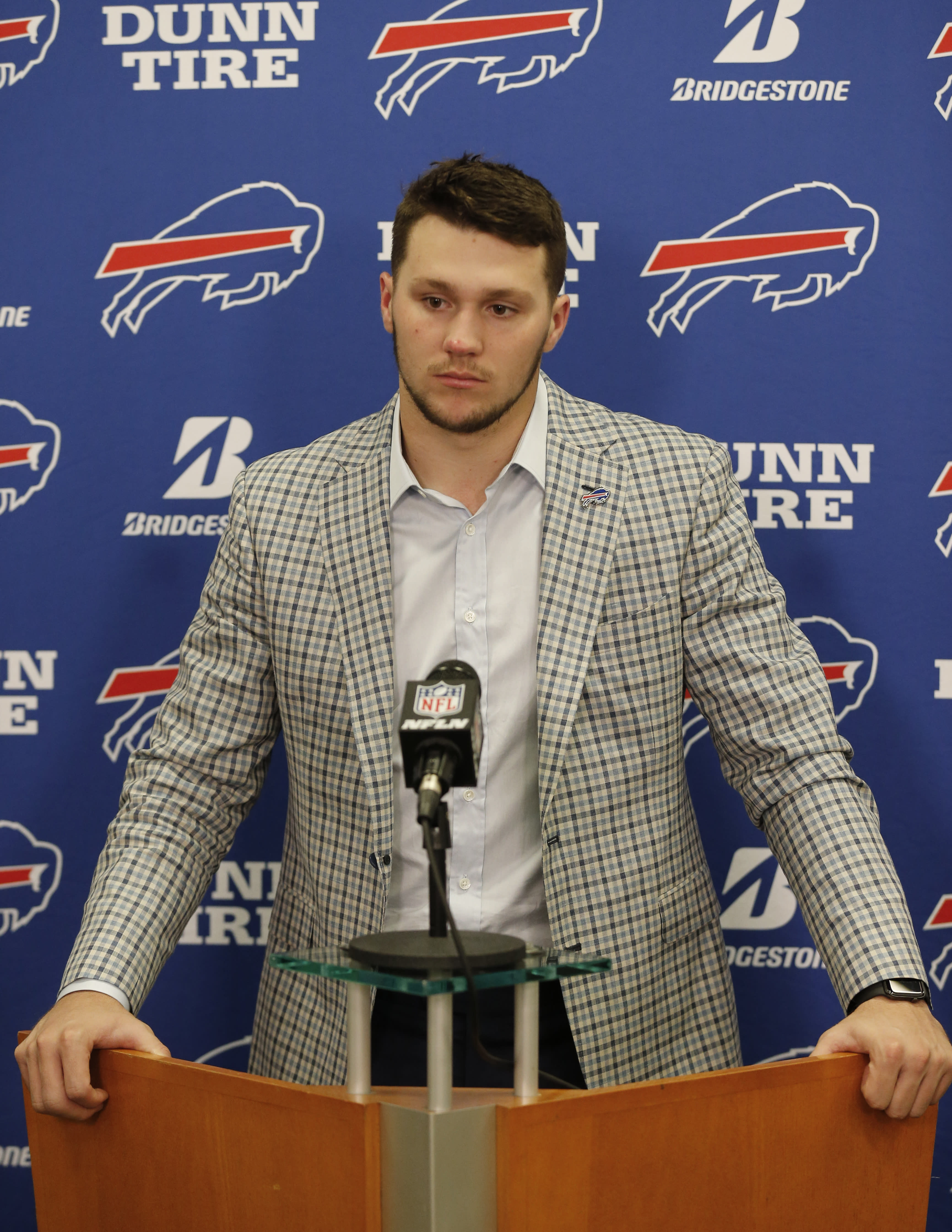 Buffalo Bills quarterback Josh Allen answers questions after the Cleveland Browns defeated his team in an NFL football game, Sunday, Nov. 10, 2019, in Cleveland. (AP Photo/Ron Schwane)