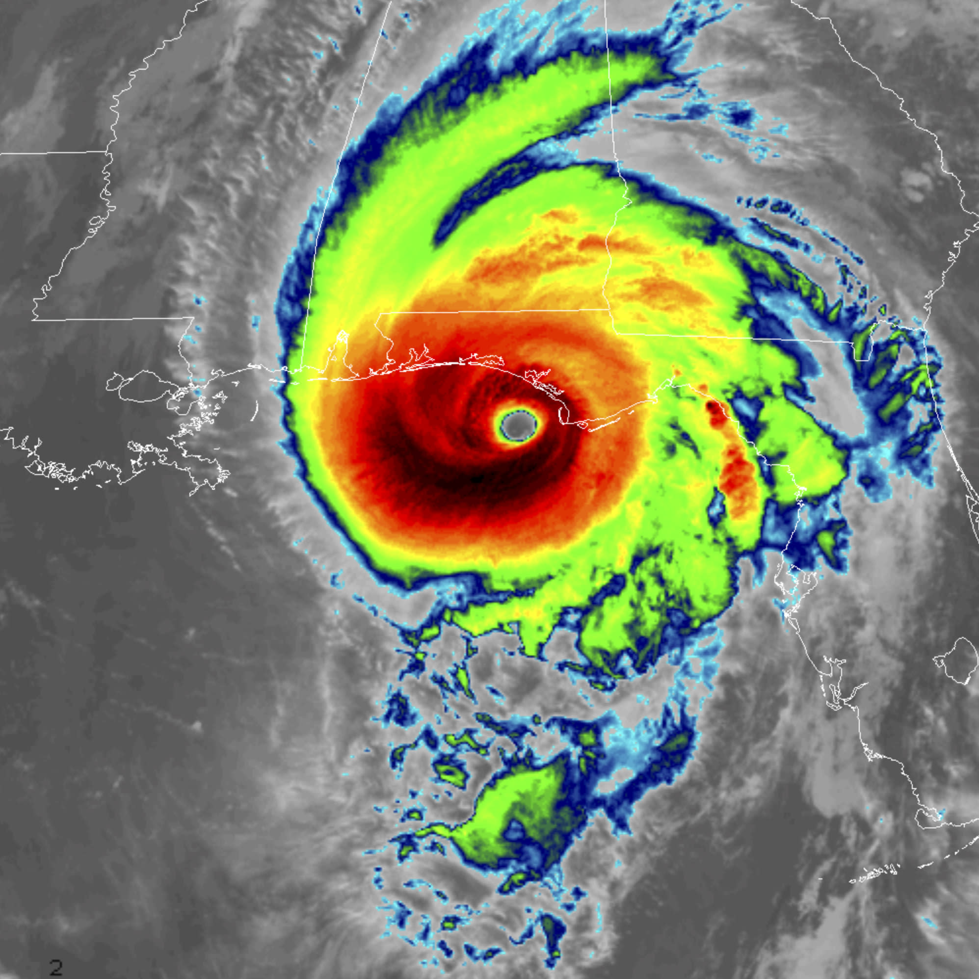 This infrared satellite image made available by NOAA shows Hurricane Michael approaching the Florida panhandle on Wednesday, Oct. 10, 2018 at 11:40 a.m. EDT. (NOAA via AP)