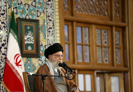 Supreme Leader Ayatollah Ali Khamenei delivers a speech on the first day of Persian New Year, also known as Nowruz in Mashhad, northeast of Tehran