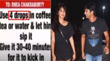 Rhea Chakraborty used to give 4 drops of drugs in tea & coffee to Sushant
