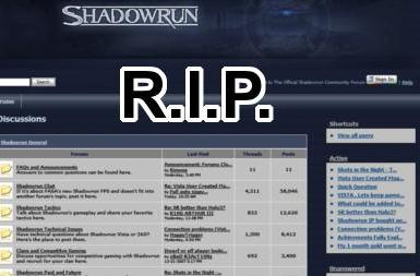 Plug is being pulled on Shadowrun forums