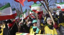 People rally in solidarity with anti-government protests in Iran