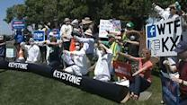 Groups protest Zuckerberg's support for Keystone pipeline
