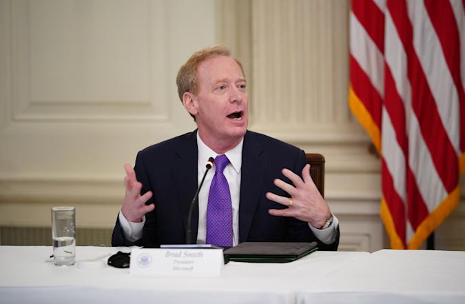 Microsoft president Brad Smith takes part in a roundtable discussion with US President Donald Trump and industry executives on reopening the country, in the State Dining Room of the White House in Washington, DC on May 29, 2020. (Photo by MANDEL NGAN / AFP) (Photo by MANDEL NGAN/AFP via Getty Images)