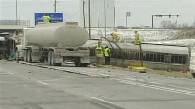 Overturned Tanker Causes Traffic Mess