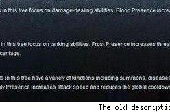 Blizzard changes the description of the Death Knight talent trees