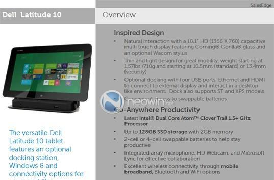 More slides on Dell's Windows 8 Latitude 10 tablet surface, detail docking station and launch window