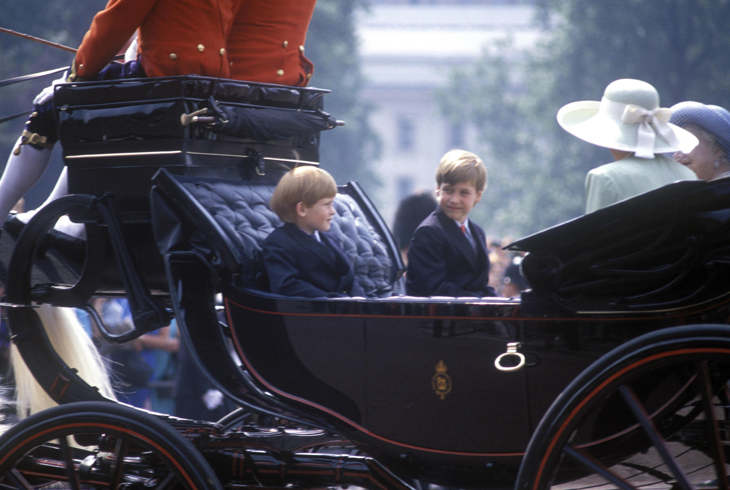 Prince William, Prince Harry, Trooping the Colour, 16th June 1990. (Photo by John Shelley Collection/Avalon/Getty Images)