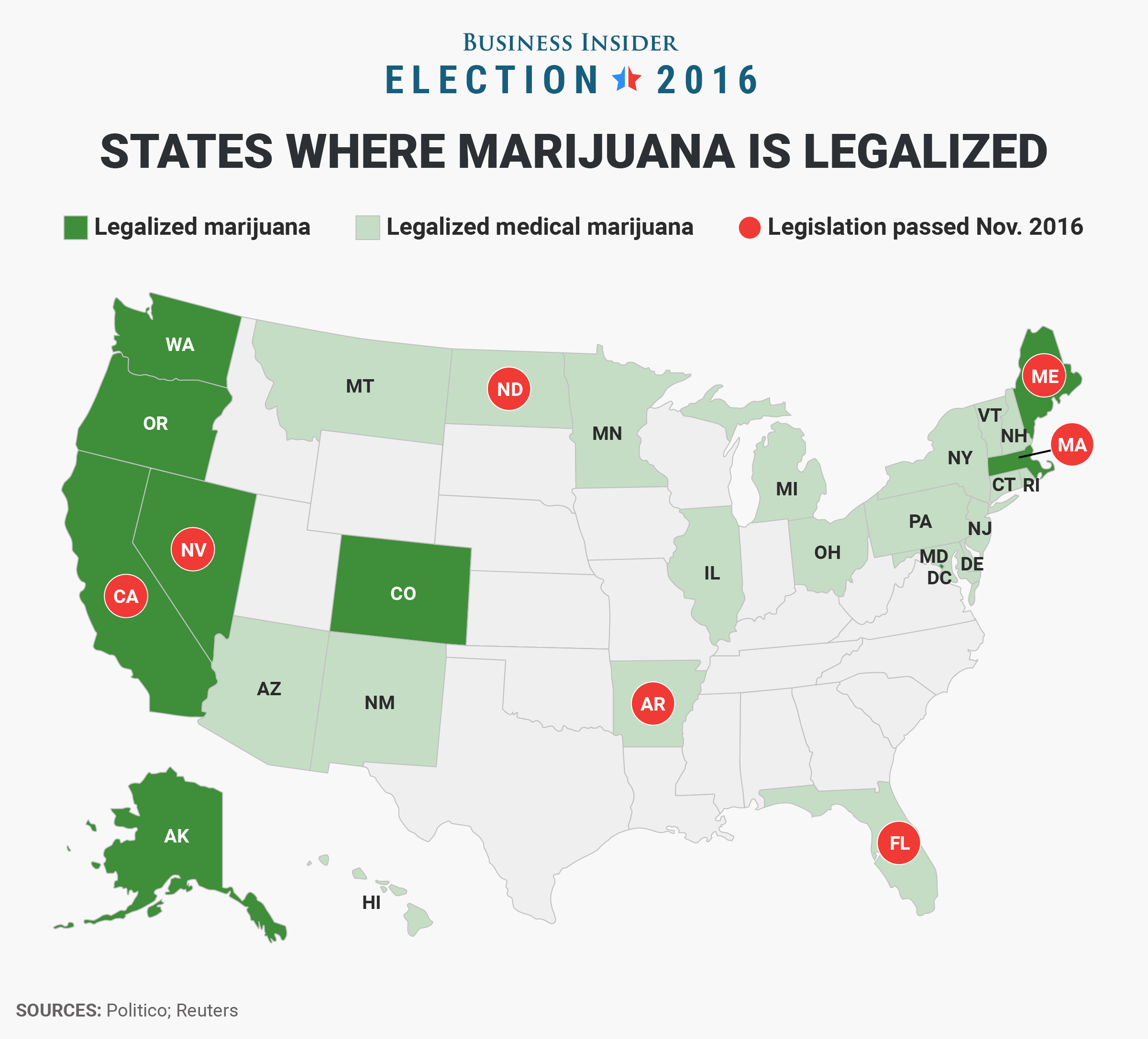 This Map Shows Every State That Legalized Marijuana On Election Day - Us-elections-2016-live-map