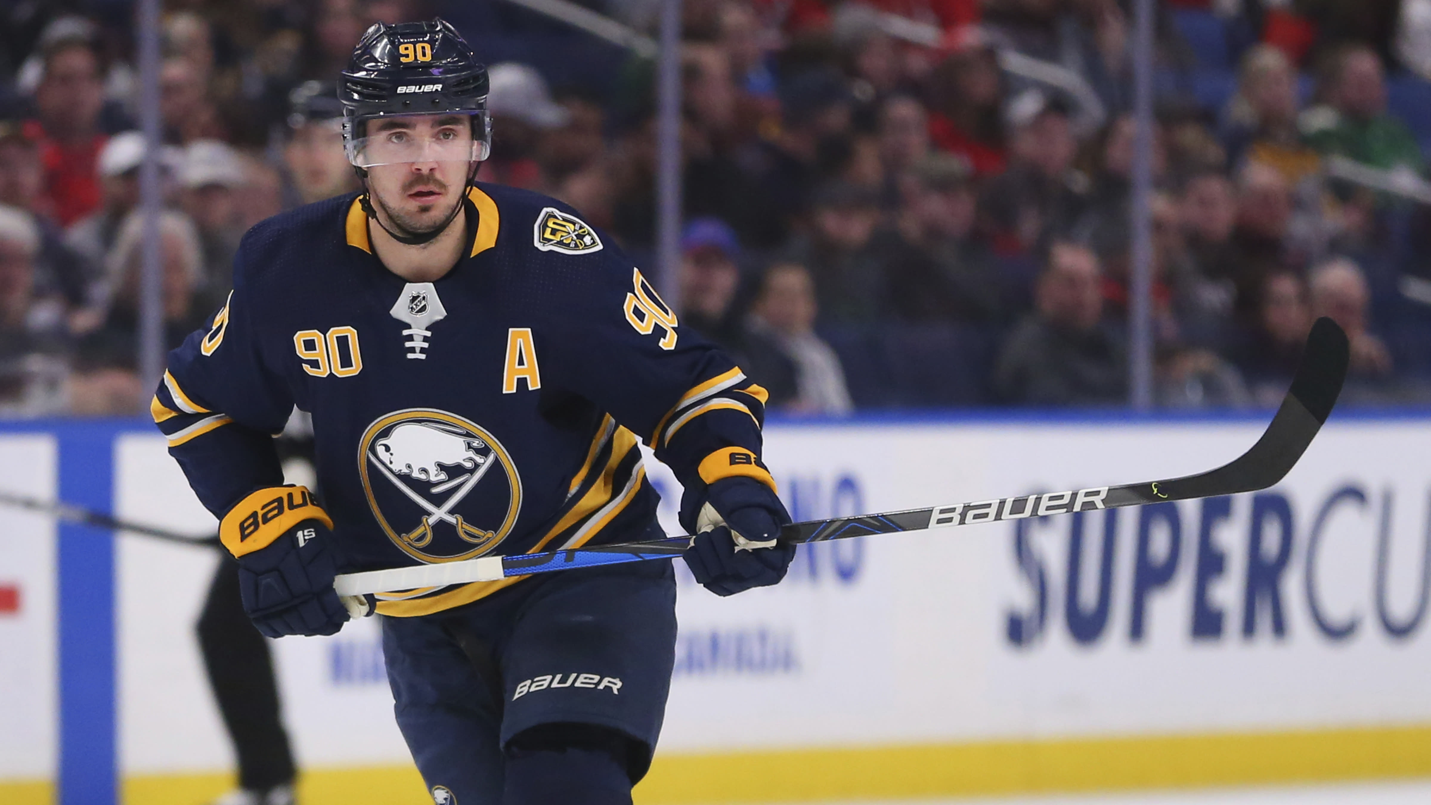 FILE - In this March 9, 2020, file photo, Buffalo Sabres forward Marcus Johansson (90) skates during the first period of an NHL hockey game against the Washington Capitals in Buffalo, N.Y. The Buffalo Sabres acquired veteran center Eric Staal in a trade that sent forward Marcus Johansson to the Minnesota Wild on Wednesday, Sept. 16, 2020. (AP Photo/Jeffrey T. Barnes, File)