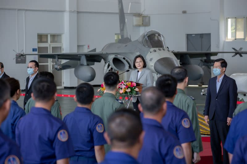 Taiwan's President Tsai Ing-wen delivers a speech during her visit to Makung Air Force Base in Taiwan's offshore island of Penghu