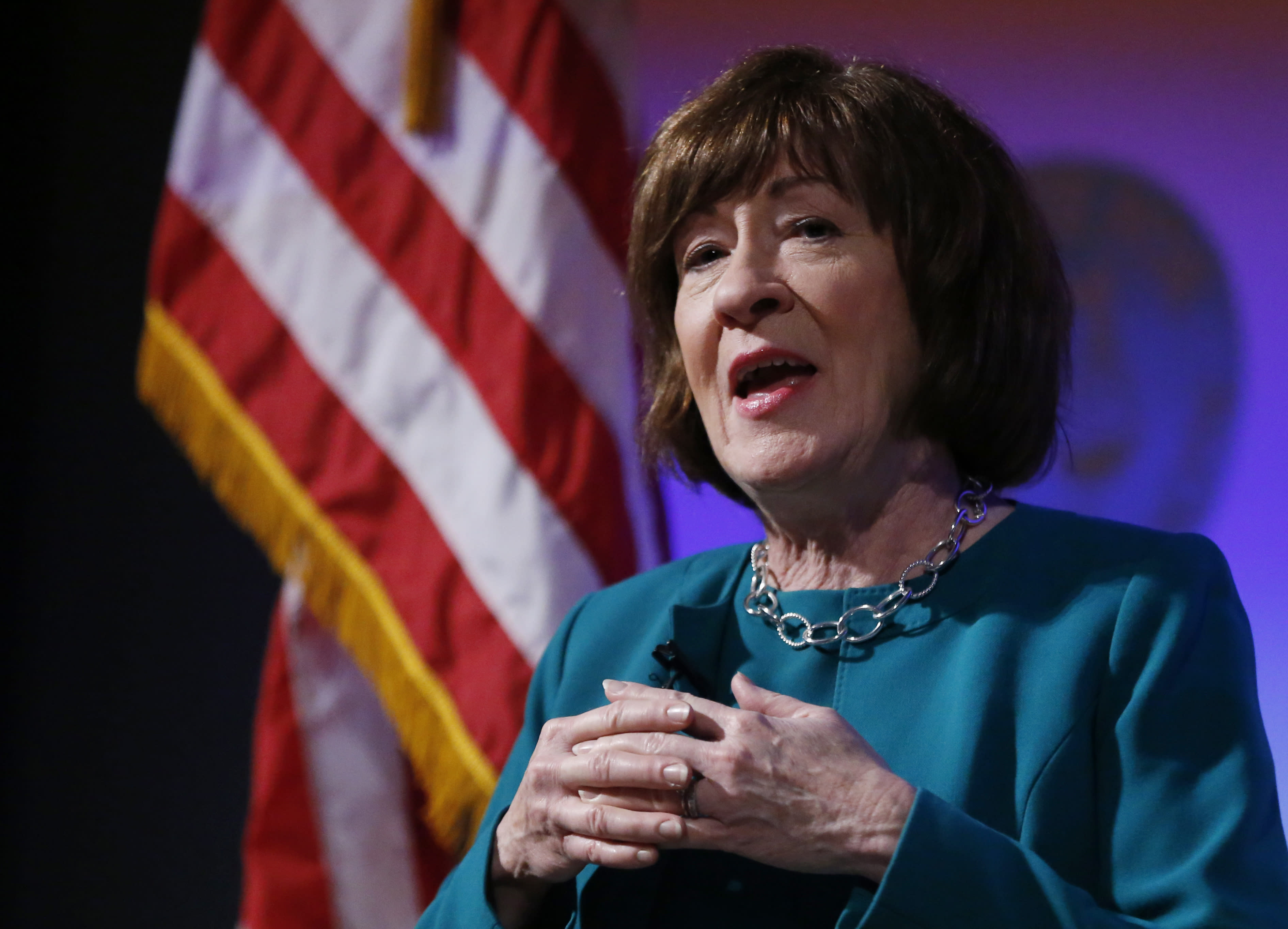 """U.S. Sen. Susan Collins, R-Maine, considered one of the few possible Republican """"no"""" votes on Supreme Court nominee Brett Kavanaugh, speaks at Saint Anselm College, Friday, Sept. 21, 2018, in Manchester, N.H. (AP Photo/Elise Amendola)"""