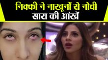 Bigg Boss 14: Nikki Tamboli's nails Injure Sara Gurpal's Eyes;Check out
