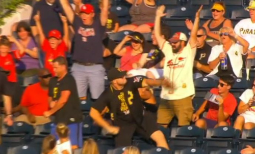 This Pirates fan showed no remorse in firing Jedd Gyorko's home run into the Allegheny River. (MLB.TV)