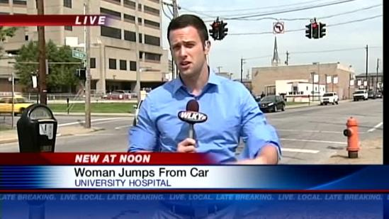 Woman jumps from vehicle on bridge