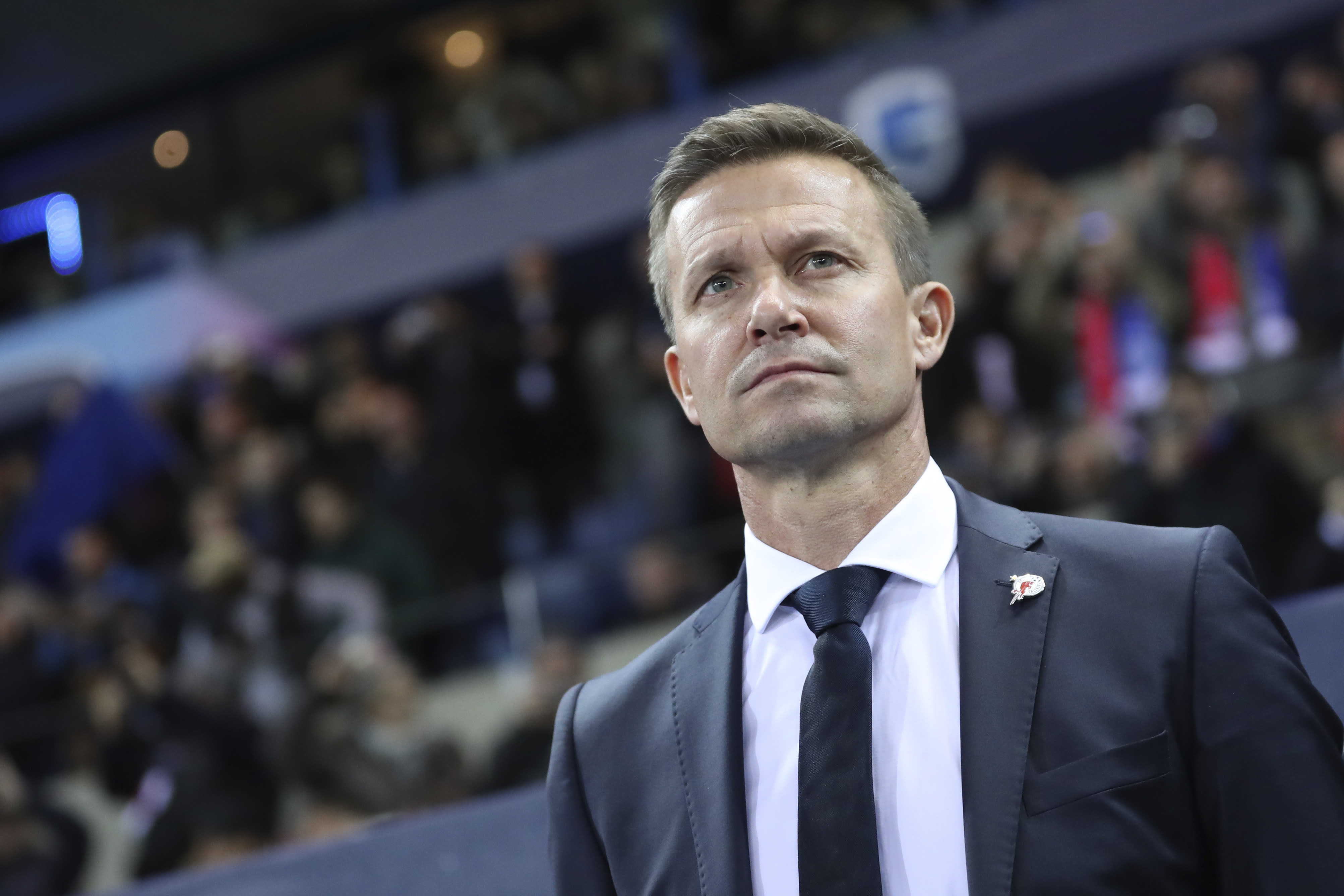 "FILE - In this file photo dated Wednesday, Nov. 27, 2019, Salzburg soccer coach Jesse Marsch stands on the sidelines during a Champions League group E soccer match against Genk at the KRC Genk Arena in Genk, Belgium. Marsch led Salzburg to this season's Austrian league title, the most significant trophy won by an American coach in Europe, and says he wanted ""to see if my idea of leadership could thrive in this competitive setting,"" the Wisconsin native told The Associated Press Friday July 3, 2020. (AP Photo/Francisco Seco, FILE)"