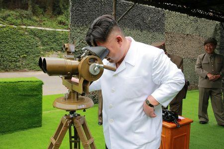 North Korean leader Kim Jong Un provides field guidance during a fire drill of ballistic rockets by Hwasong artillery units of the KPA Strategic Force, in this undated photo released by North Korea's Korean Central News Agency (KCNA) in Pyongyang September 6, 2016. KCNA/via Reuters