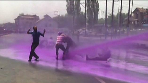 Protesters blasted by water cannon