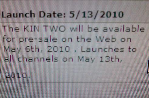 Microsoft Kin One and Kin Two to go up for pre-order on May 6th, shipping on May 13th?