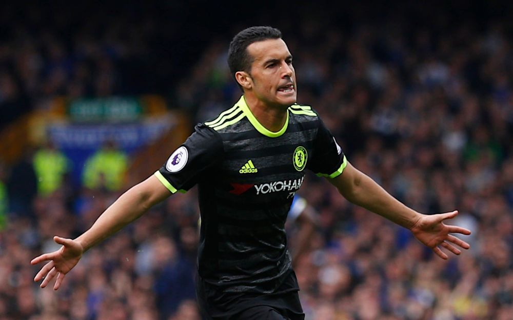 Pedro enlivens a drab match with a sensational strike to put league leaders Chelsea 1-0 up and on the road to a 3-0 victory over Everton - REUTERS