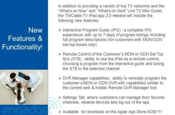 Time Warner Cable internal docs reveal TWCable TV iPad app, DVR upgrades on the way