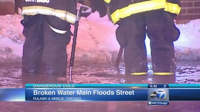 Frozen pipes burst, fire hydrants freezing across cold Chicago