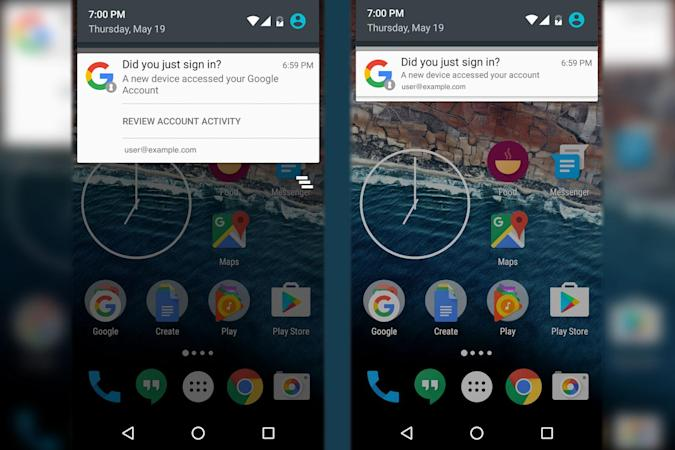 Android will tell you when new devices access your Google account