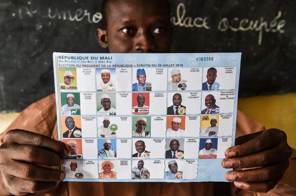 The incumbent Keita leads a crowded field of 24 candidates, including just one woman (AFP Photo/ISSOUF SANOGO)