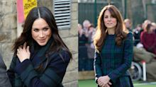 Meghan Markle takes a style cue from Kate Middleton in $3,500 tartan coat