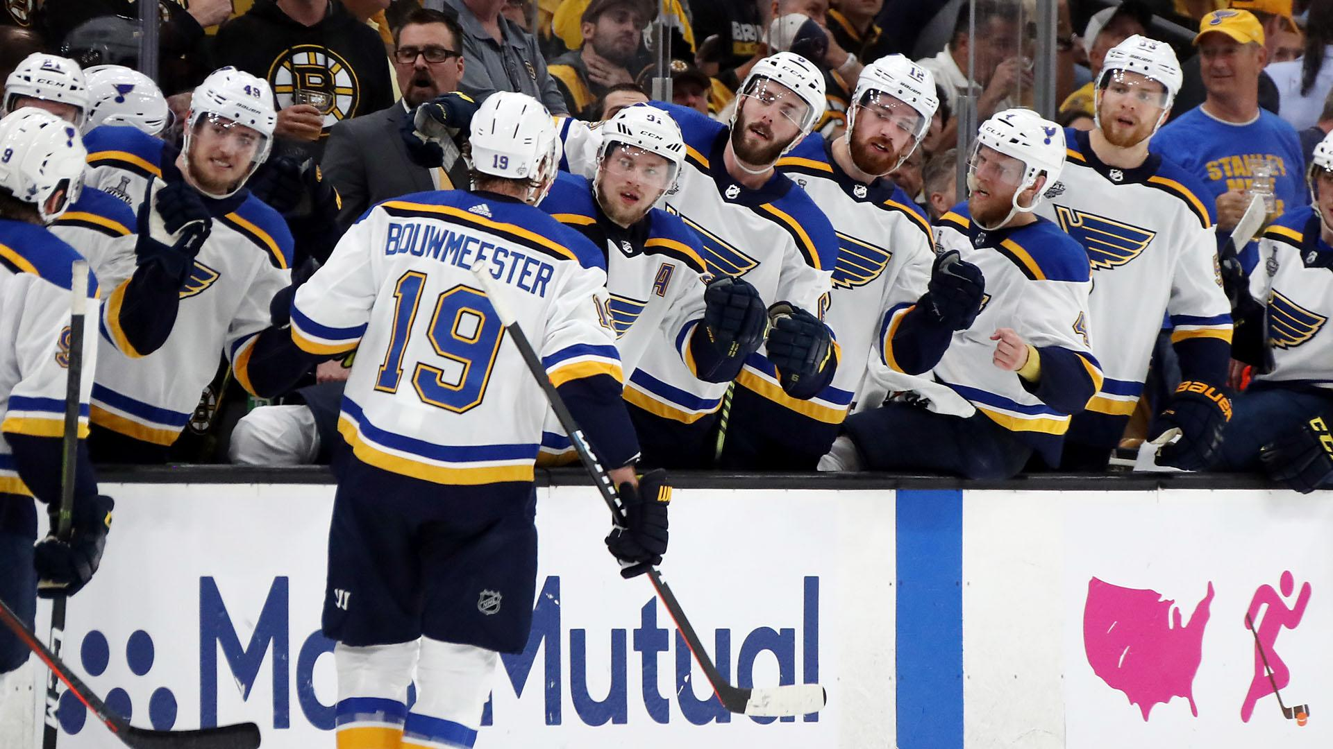 Stanley Cup Final 2019 Blues Captain Alex Pietrangelo Hands Off Cup To Jay Bouwmeester
