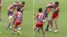Shane Mumford decks opponent in disastrous return to footy
