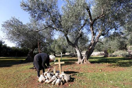 Ermioni Brigo, 85, lights a candle near a Greek World War Two soldier's makeshift grave in Himara, Albania January 26, 2018. Picture taken January 26, 2018. REUTERS/Florion Goga