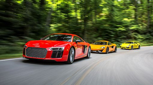 2017 Audi R8 V-10 Plus vs. 2016 McLaren 570S, 2017 Porsche 911 Turbo S
