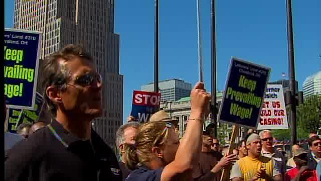 Casino supporters rally on Public Square