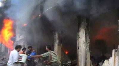 Syrian Army jet bombs residential area in Aleppo