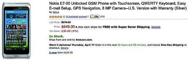 Nokia E7 now shipping from Amazon for $649