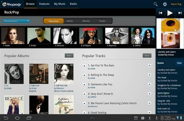 Rhapsody music streaming lands on Android tablets with 'magazine-style' app