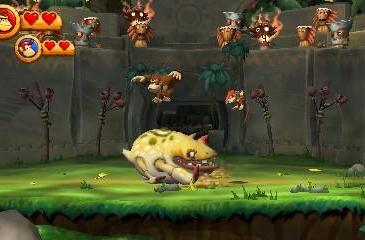 Donkey Kong Country Returns 3D doing what it does best