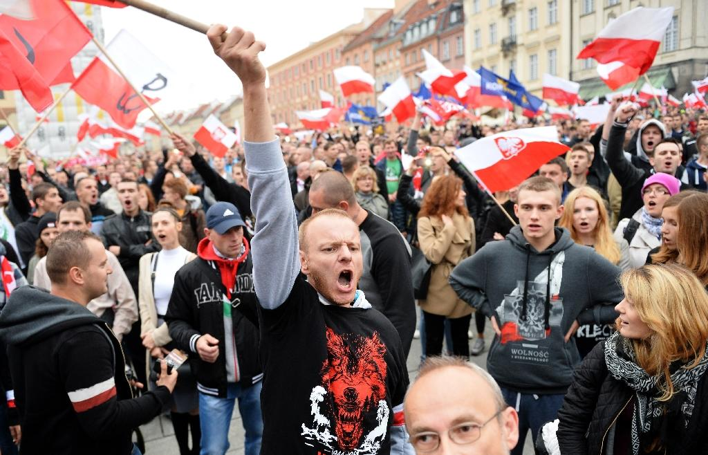 Right-wing demonstrators shout slogans as they take part in a protest against migrants in Warsaw on September 12, 2015 (AFP Photo/Janek Skarzynski)