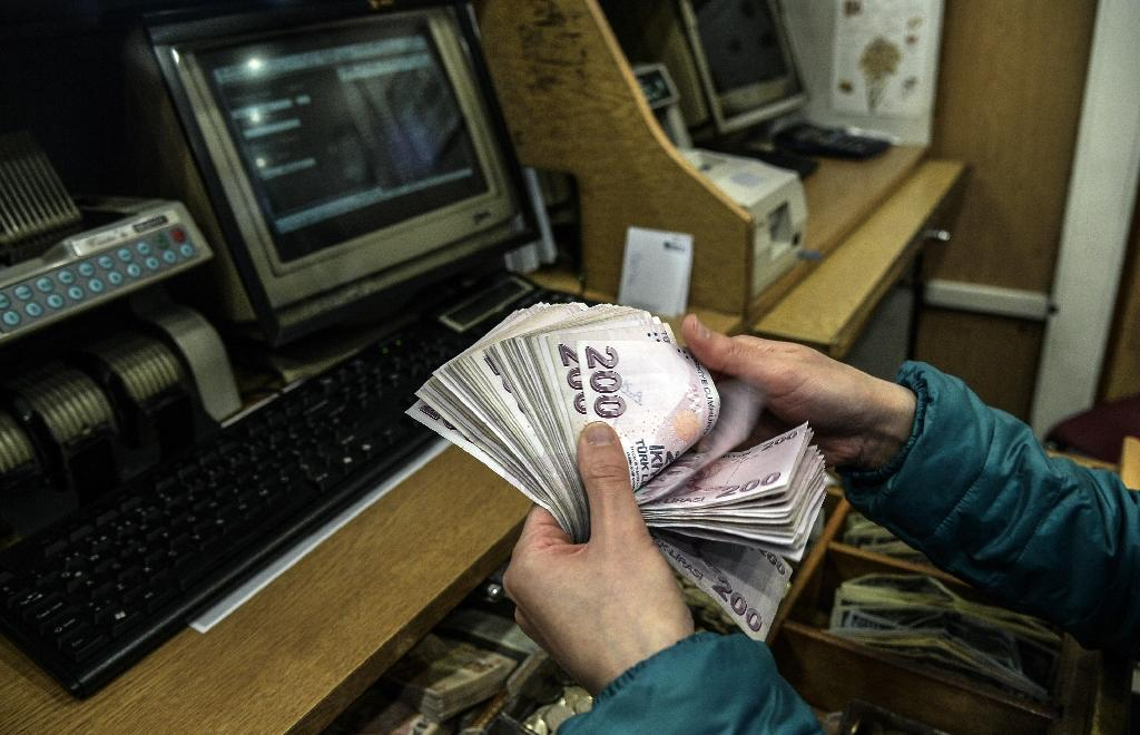 A woman counts Turkish lira banknotes at a currency exchange office in Istanbul on January 23, 2014 (AFP Photo/Bulent Kilic)