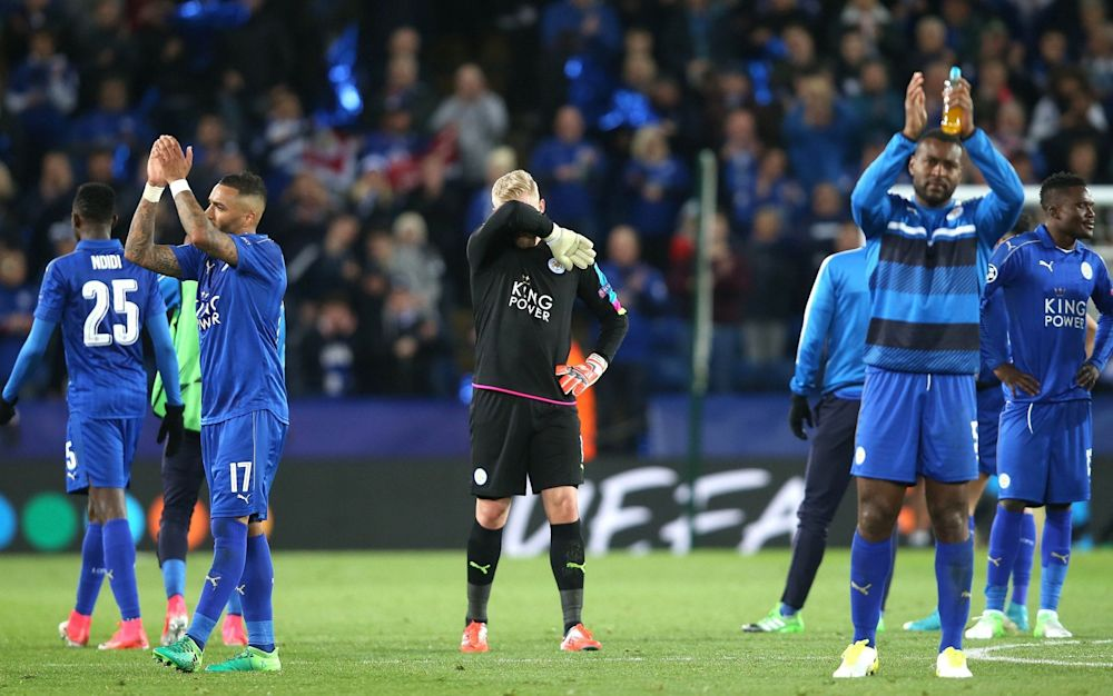 Leicester went out of the Champions League - but they went down fighting - Rex Features