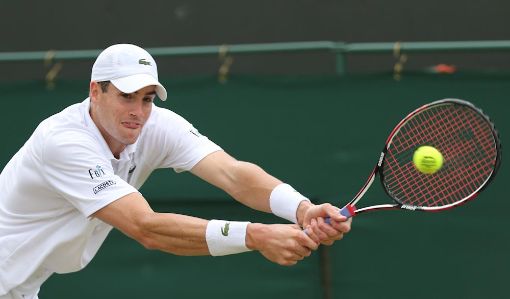 US player John Isner plays a third round match at the Wimbledon Championships on June 30, 2014