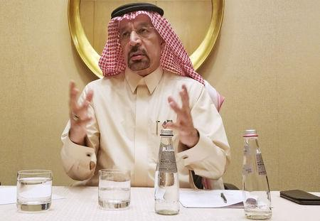 Saudi Arabian Energy Minister Khalid al-Falih speaks during an interview in Washington