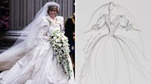 Rare sketches of Diana's royal outfits up for auction as 'The Crown' sparks new interest in princess's fashion