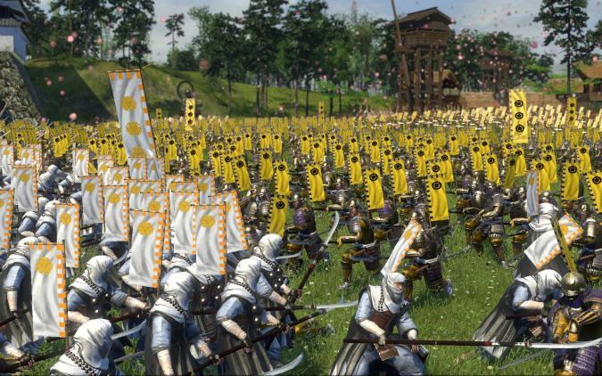 Two opposing armies clash in Total War: Shogun 2.