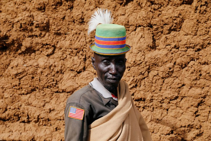 Etion Loteng' Teng', from the Turkana tribe poses for a picture in the village of Lorengippi near the town of Lodwar, Turkana county