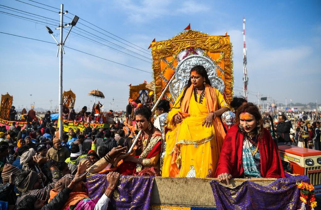 Tuesday was the first time that members of India's estimated two-million-strong transgender community have been allowed to wade in the water at India's Kumbh Mela festival (AFP Photo/CHANDAN KHANNA)