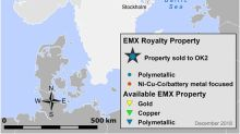 EMX Royalty Executes Agreement to Sell Four Polymetallic Projects in Norway and Sweden to OK2 Minerals