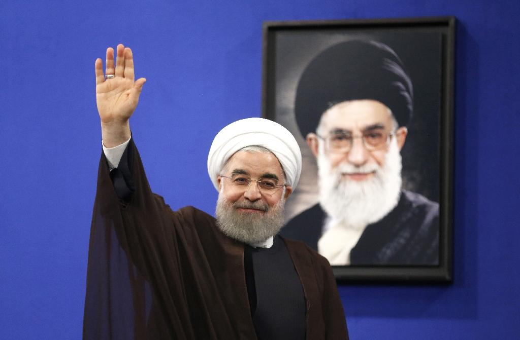 Newly re-elected Iranian President Hassan Rouhani gestures after delivering a televised speech in the capital Tehran on May 20, 2017 (AFP Photo/ATTA KENARE)
